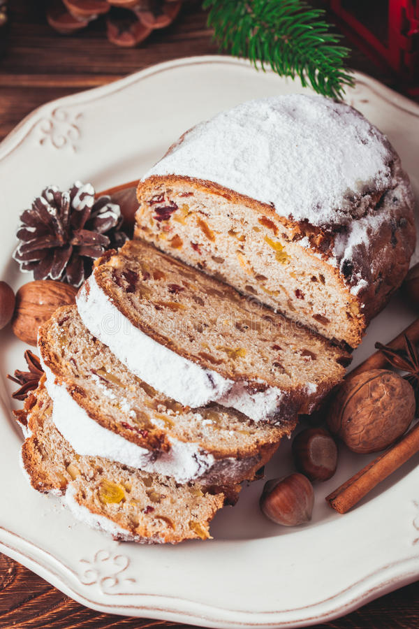 Christmas cake - Stollen royalty free stock photo