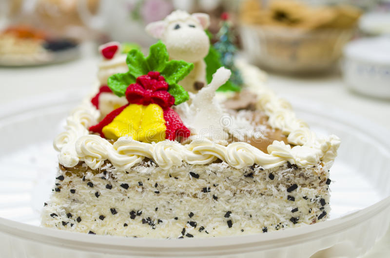 Christmas cake on a table stock photo