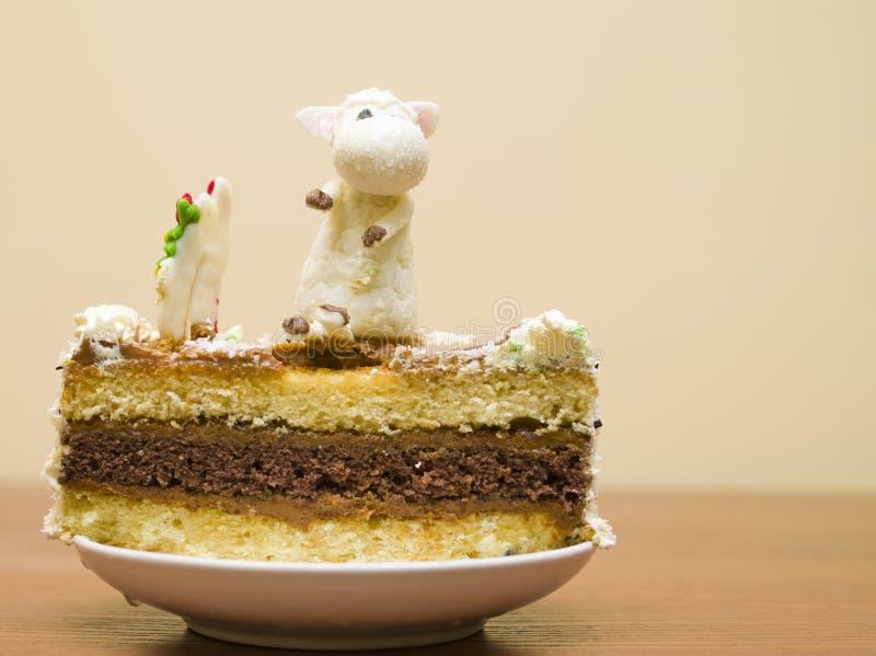 Christmas cake on a table royalty free stock image