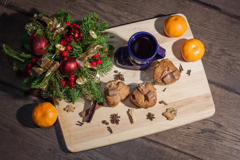 Christmas cakes. With hot wine and orages stock images