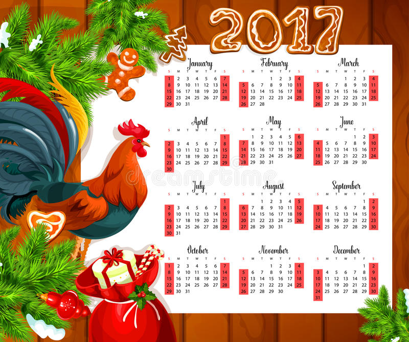 Christmas calendar on wooden background. Year calendar with xmas tree, gift box, candy cane, holly berry, chinese zodiac rooster, gingerbread and bauble ball stock illustration