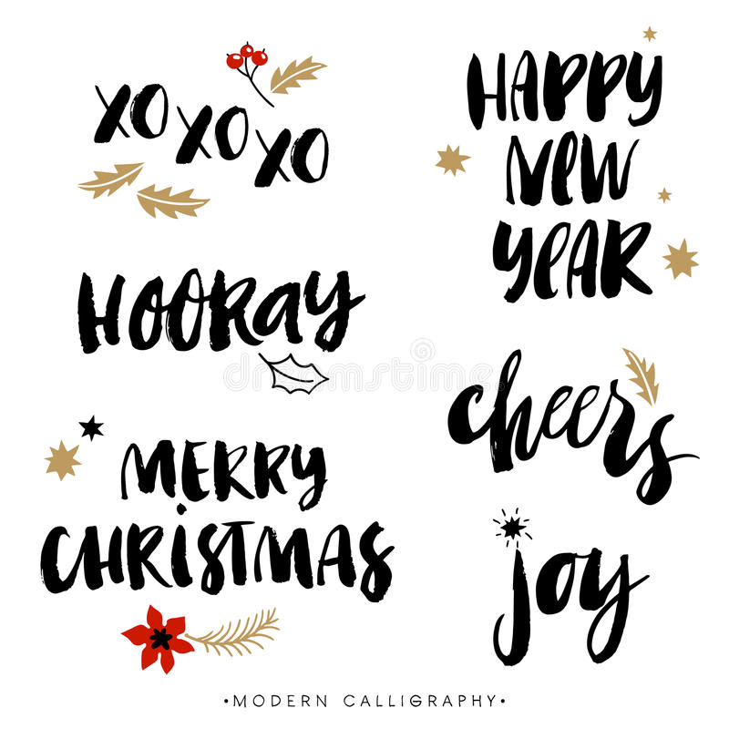 Free Christmas Calligraphy Phrases. Hand Drawn Design Elements. Royalty Free Stock Images - 61774389