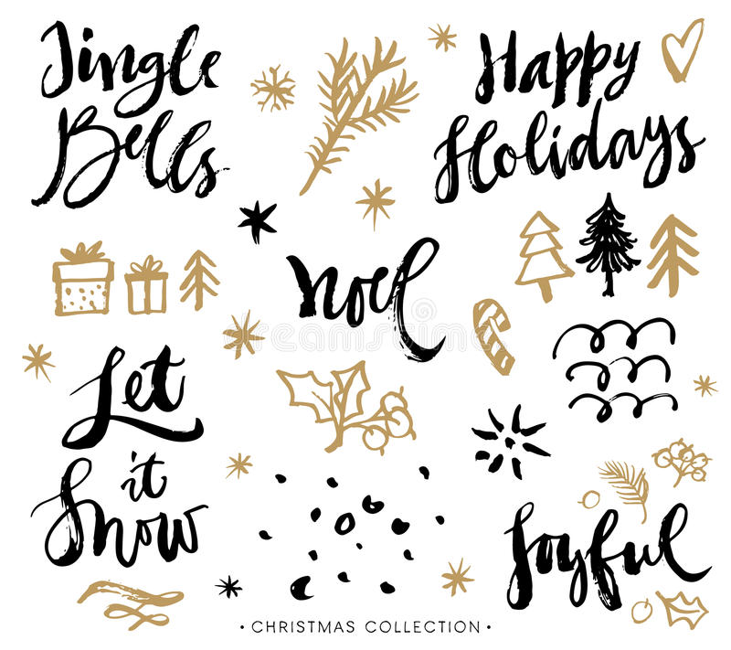 Christmas calligraphy phrases. Hand drawn design elements. stock illustration