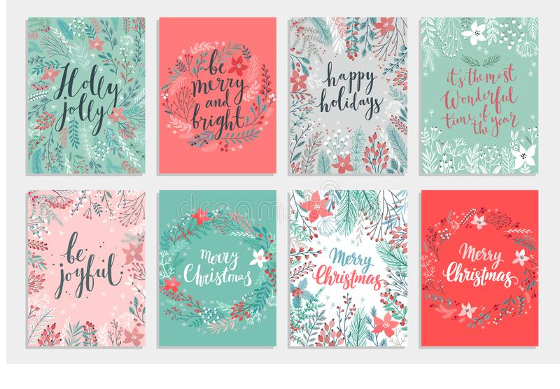 Christmas Callygraphic card set - hand drawn floral royalty free illustration
