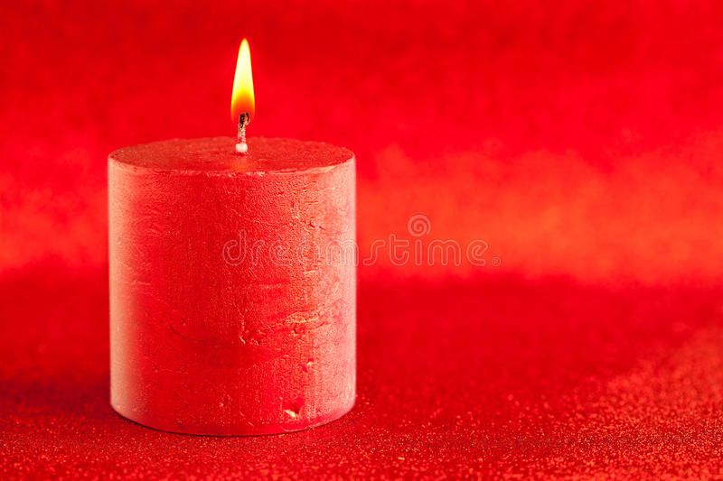 Download Christmas Candle Candlelight On Red Glitter Stock Image - Image: 21891819