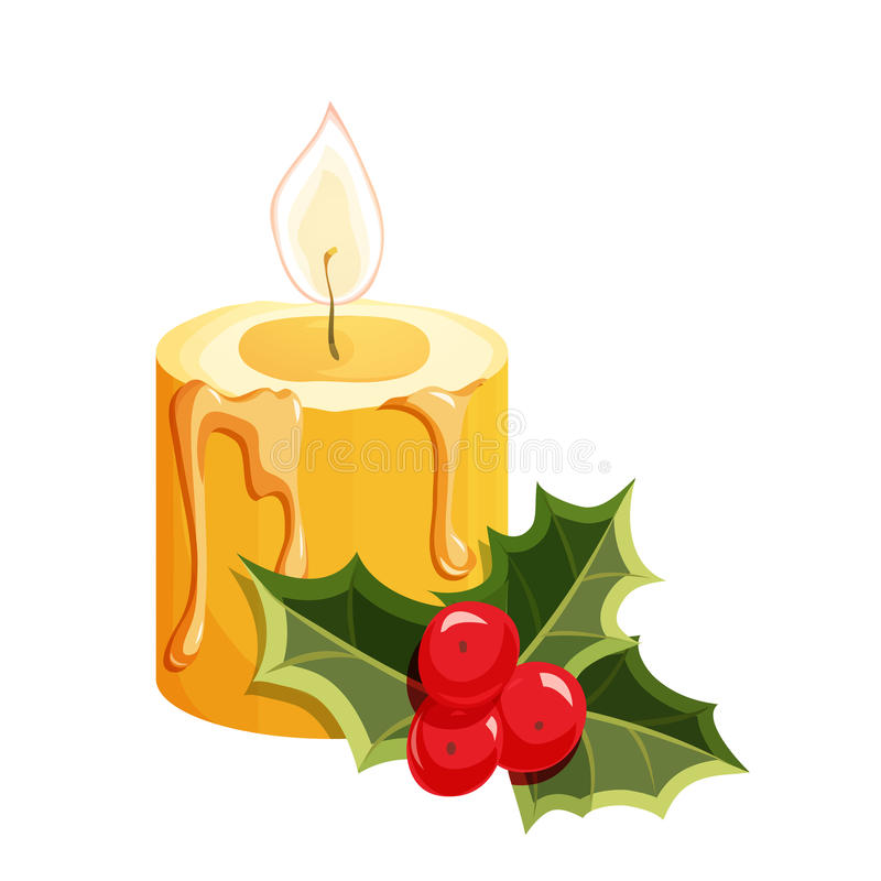 Christmas candle with holly royalty free illustration
