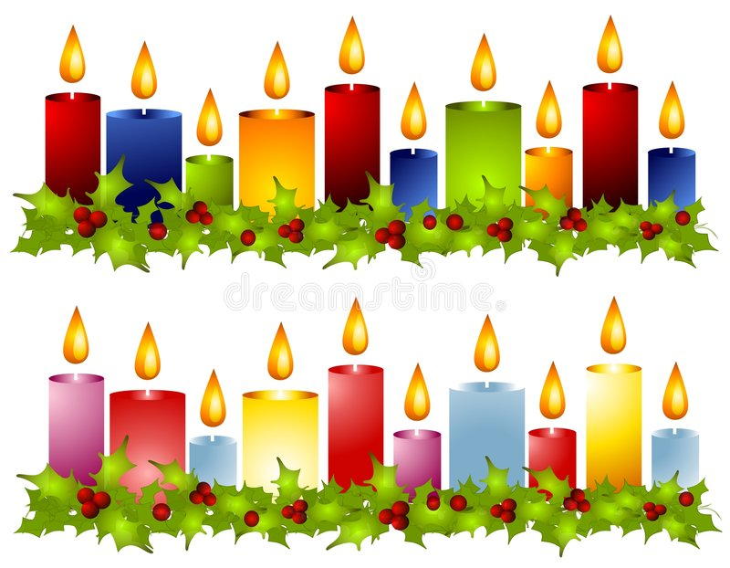 Christmas Candle Holly Wreath Borders. A clip art illustration of your choice of 2 Christmas candle borders in light and dark colors surrounded by holly wreaths