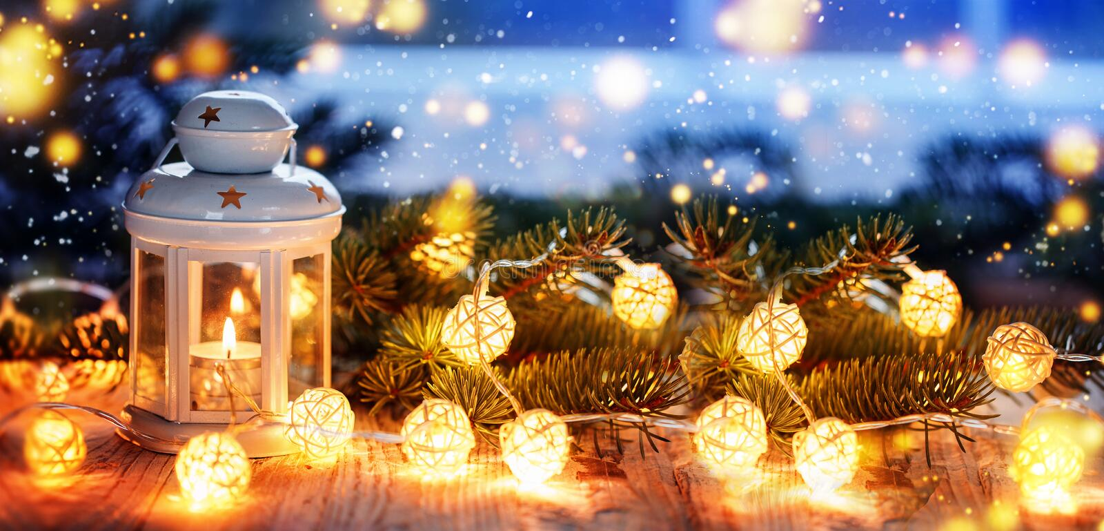 Christmas candle lantern, Christmas and New Year background, Banner. royalty free stock images