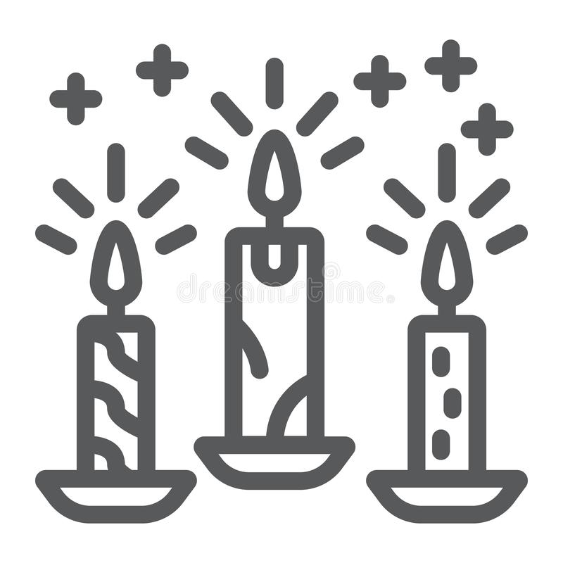 Christmas candle line icon, christmas and decor, candlelight sign, vector graphics, a linear pattern on a white. Background, eps 10 vector illustration