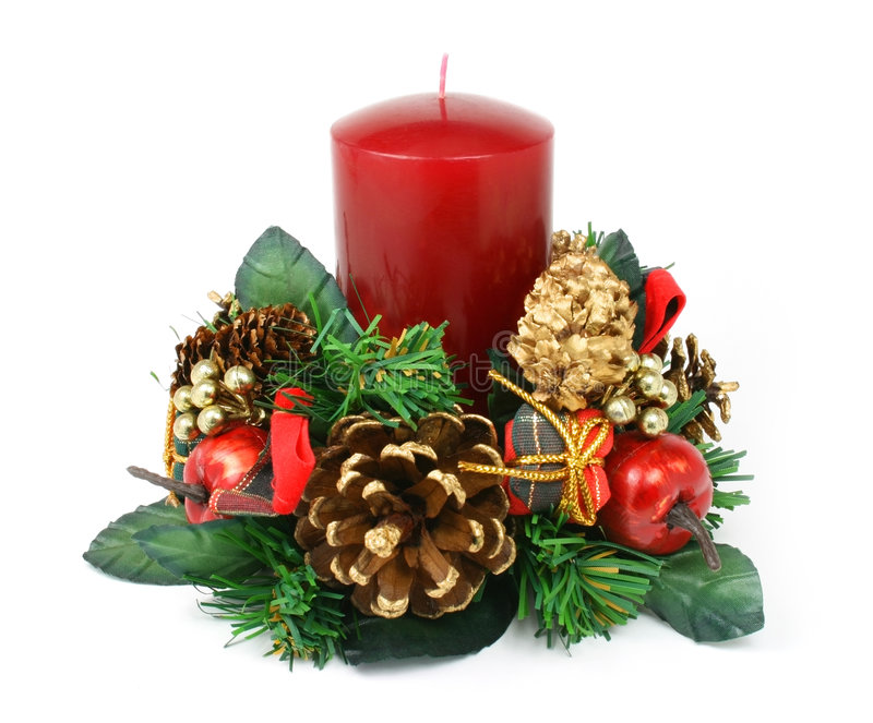 Christmas candle ornament on white background stock images