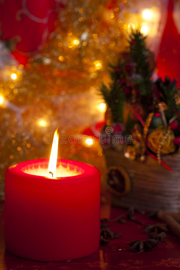 Christmas candle red royalty free stock images