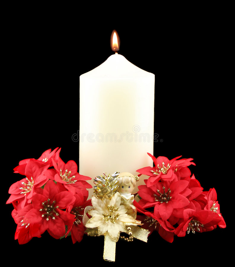 Christmas Candle Red Flowers stock photos