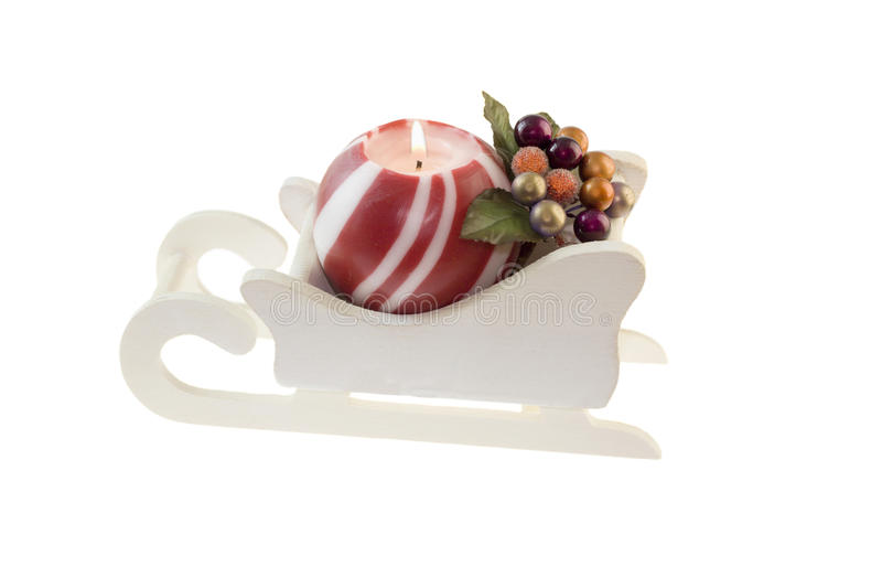 Download Christmas candle on sleigh stock photo. Image of sled - 13411638