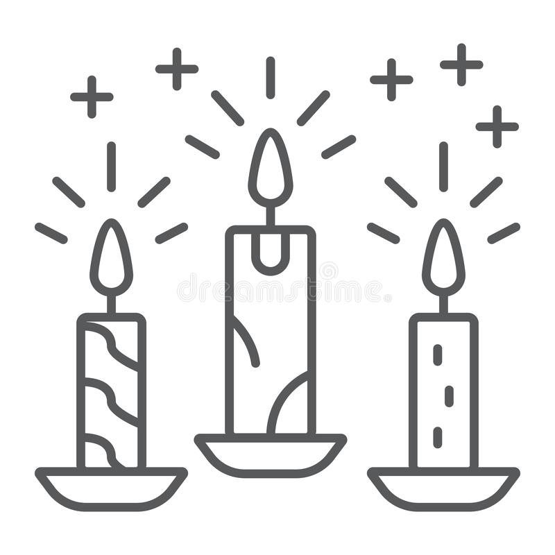 Christmas candle thin line icon, christmas and decor, candlelight sign, vector graphics, a linear pattern on a white. Background, eps 10 royalty free illustration