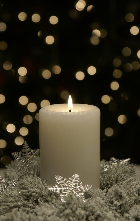 Christmas Candle White Silver Snowflake royalty free stock photos