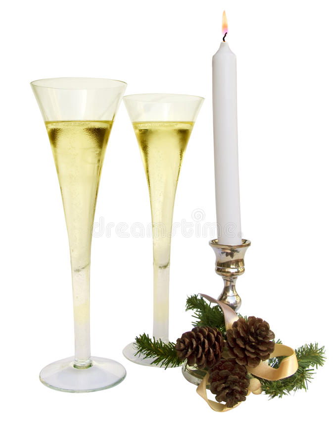 Free Christmas Candle With Two Champagne Cups Stock Photography - 12713492