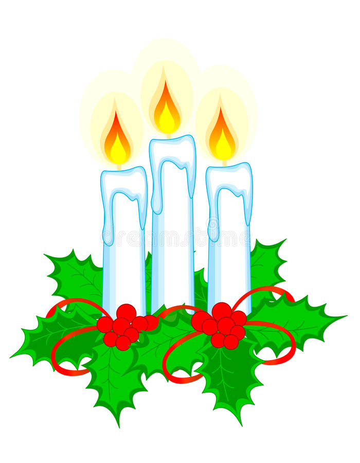 Download Christmas candles stock vector. Image of december, holly - 11577611