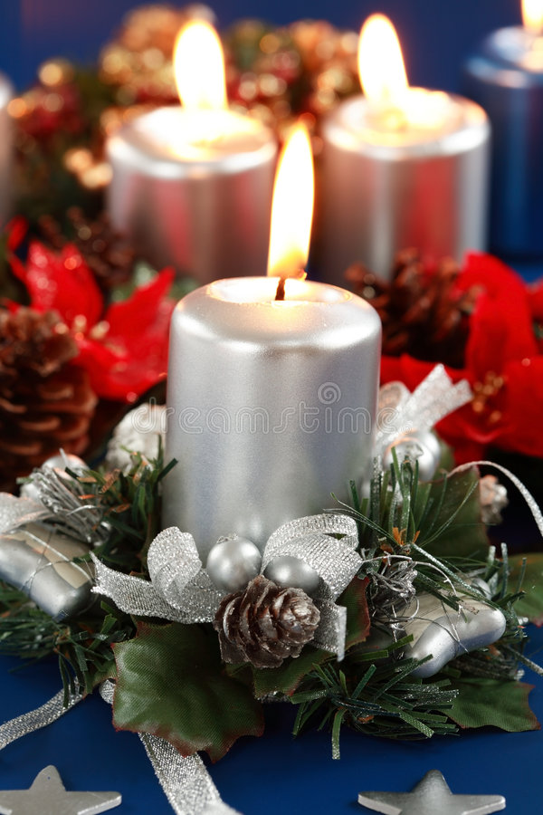 Christmas candles stock photos
