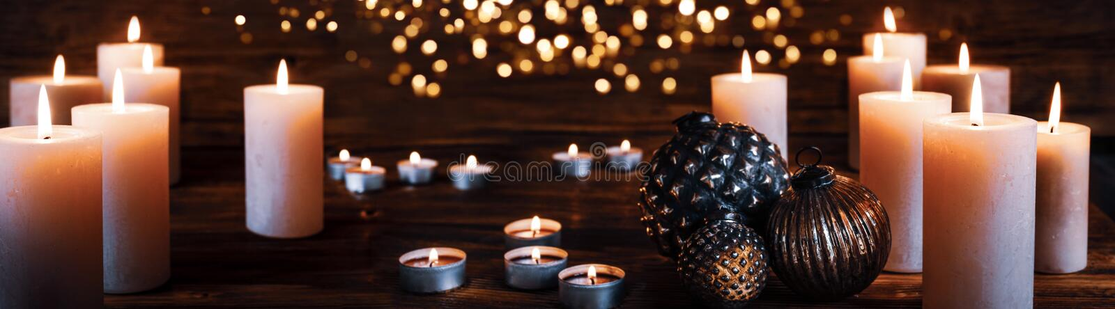 Christmas candles decoration royalty free stock photo