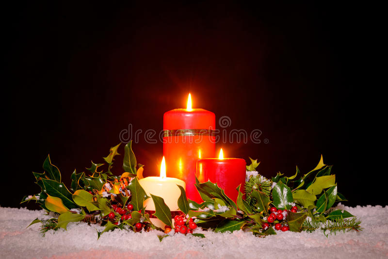 Download Christmas Candles With Garland, Stock Image - Image of black, snow: 35207311