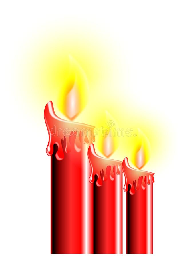 Christmas candles in red tones isolated royalty free stock photo