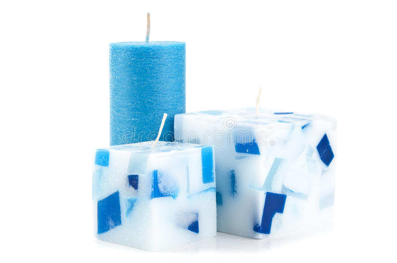 Christmas candles isolated. On a white background stock photo