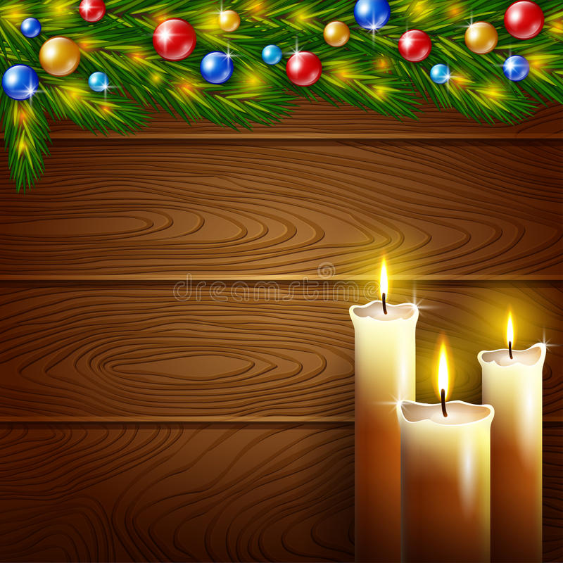 Christmas candles and wooden background. Illustration of Christmas candles and a wooden background royalty free illustration