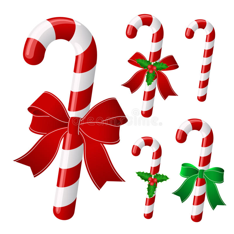 Christmas candy. Candy cane collection with ribbon and holly . Vector vector illustration