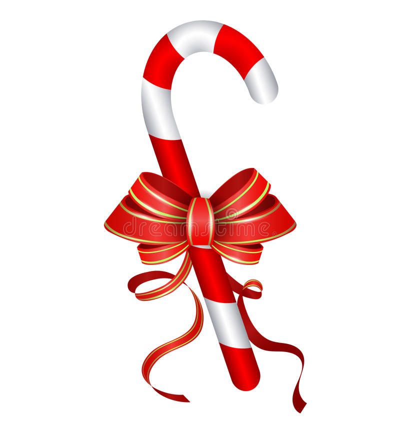 Christmas candy cane with red bow. On white background royalty free illustration