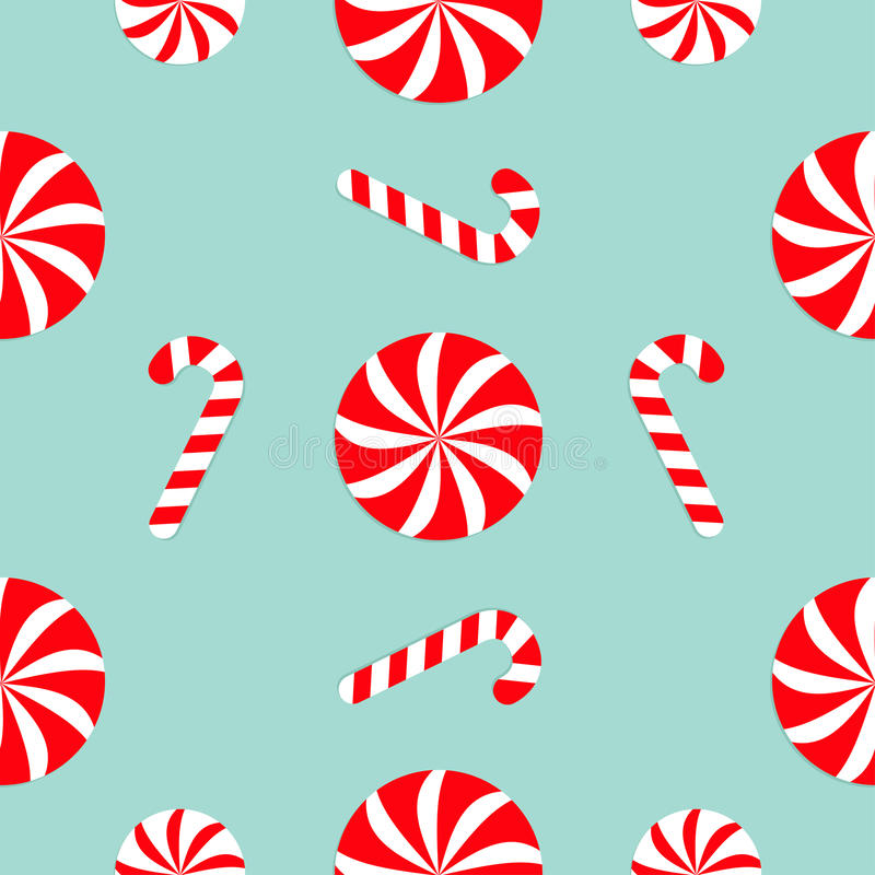 Christmas Candy Cane Round White And Red Sweet Set Seamless Pattern