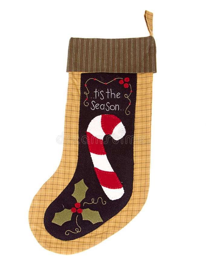 Christmas candy cane Stocking stock image