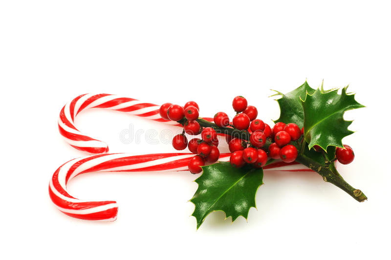 Christmas candy canes. With a branch of holly on a white background royalty free stock photo