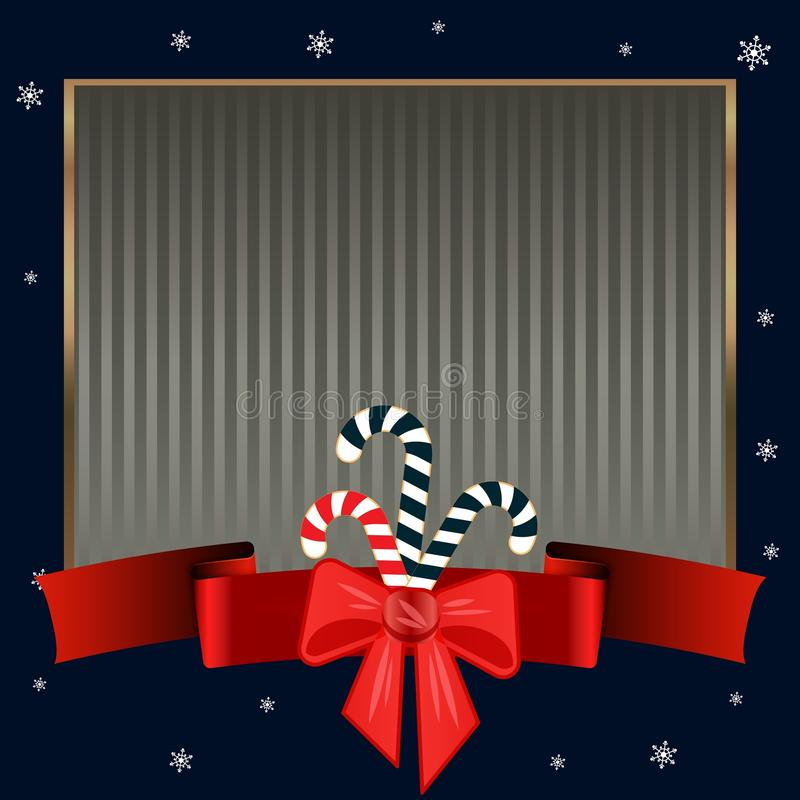 Christmas candy canes. Elegant strict dark blue background with gold frame for text on winter theme. royalty free illustration