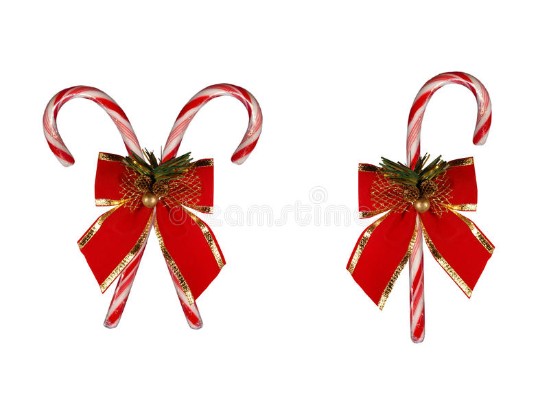 Christmas Candy Canes. Red candy canes with bows stock photo
