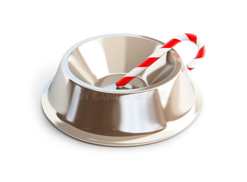 Christmas candy dog dish vector illustration