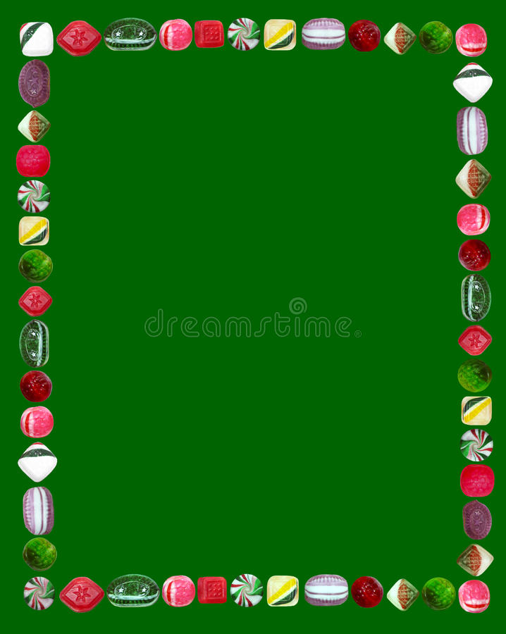 Christmas Candy Frame. Holiday motif decorative frame of brightly colored hard Christmas candies. Seasonal border for invitations, flyers, posters and holiday vector illustration