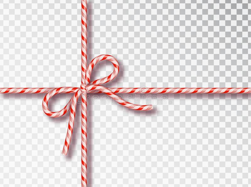 Christmas Candy gift tying isolated . Blank Christmas design, realistic red and white twisted cord frame. New Year 2019 stock illustration
