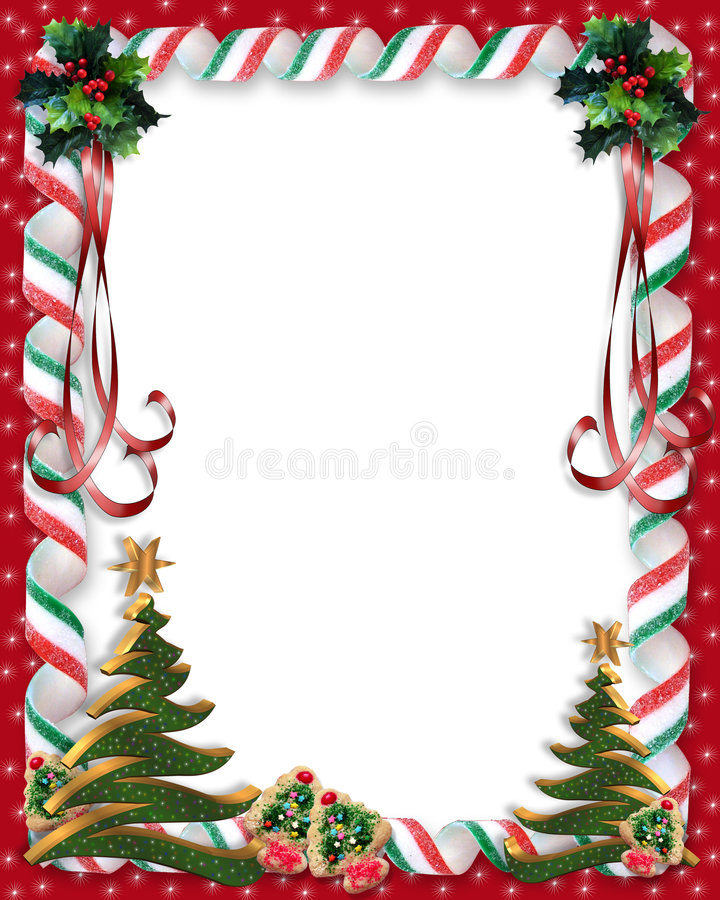 Christmas Candy and Holly border vector illustration