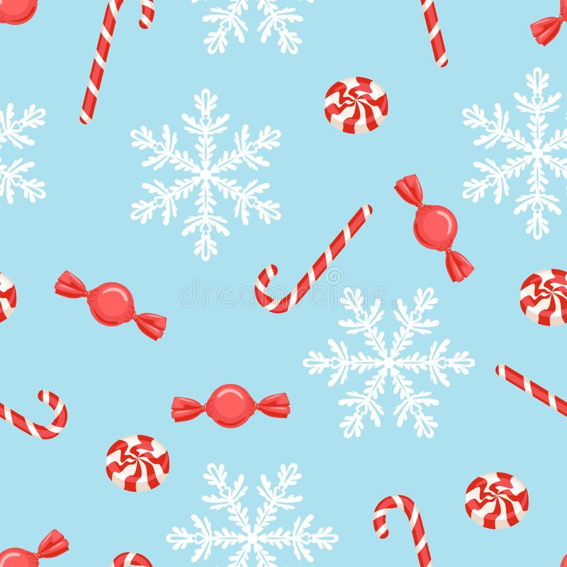 Christmas candy pattern. White snowflakes, red candies and lollipops on blue background. stock illustration