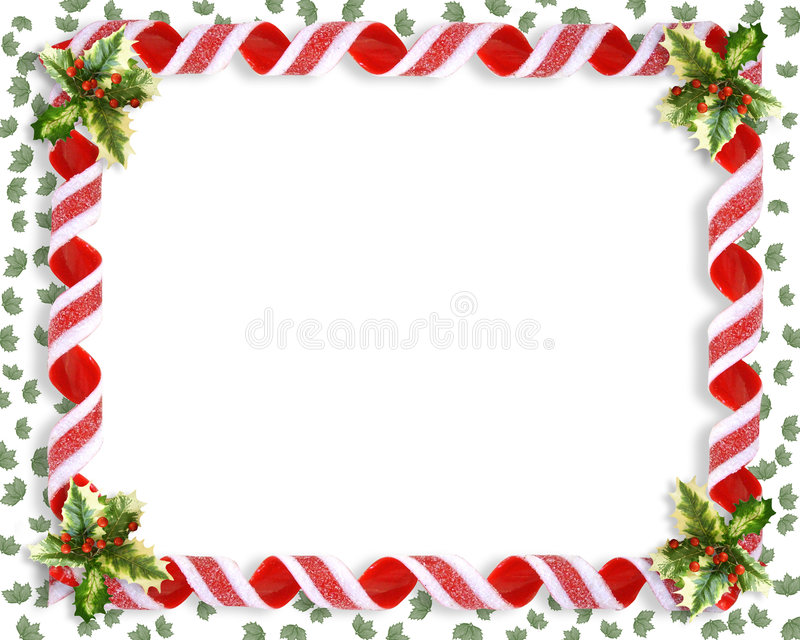 Christmas Candy Ribbon and holly Frame vector illustration