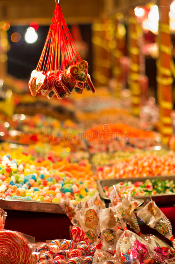 Christmas candy store on the local square stock image