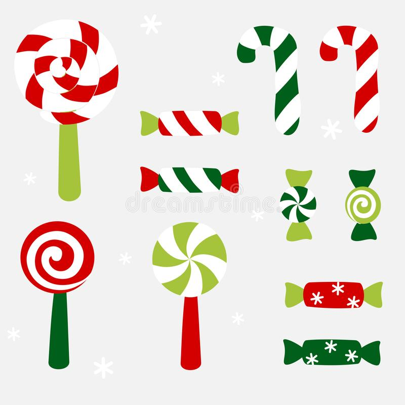 Christmas candy with striped and swirl pattern 皇族释放例证