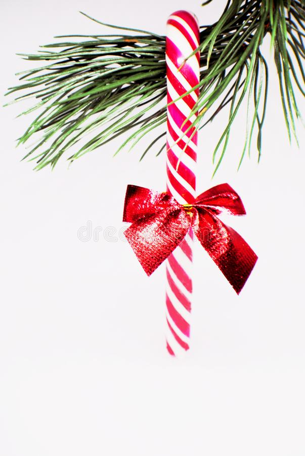 Christmas candy on the tree, Christmas decorations stock photo