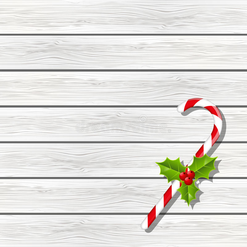Christmas candy on wood vector illustration