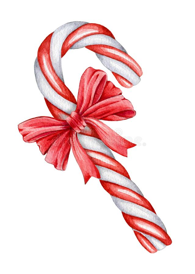 Christmas cane with a ribbon watercolor illustration. Traditional winter xmas striped white and red treat with a bow. Isolated on vector illustration