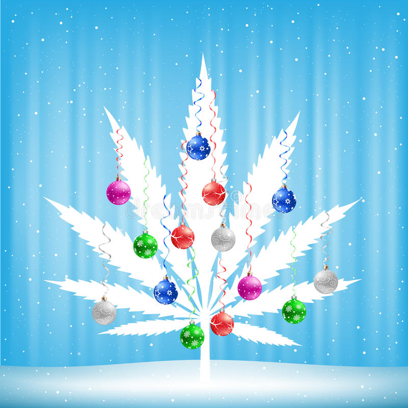 Christmas cannabis tree vector illustration