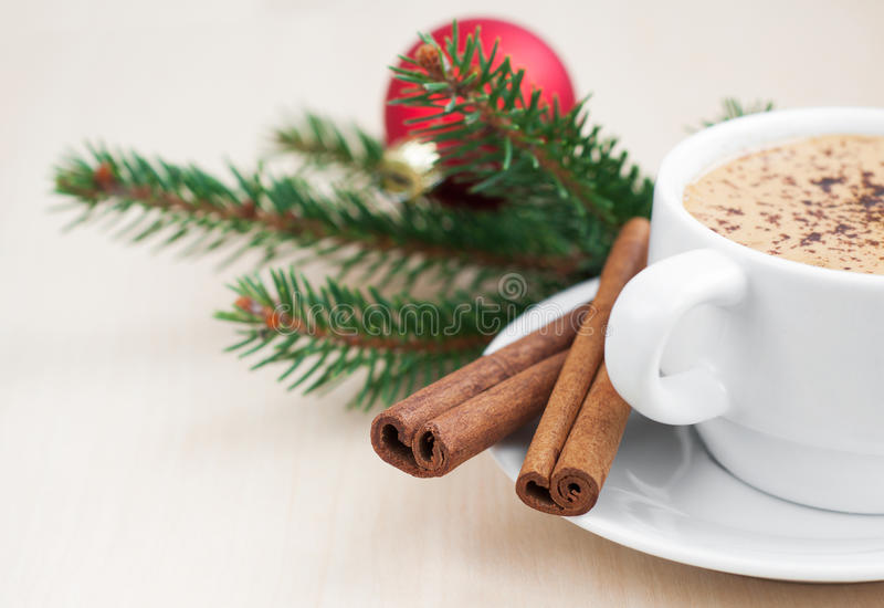 Christmas cappuccino stock photography