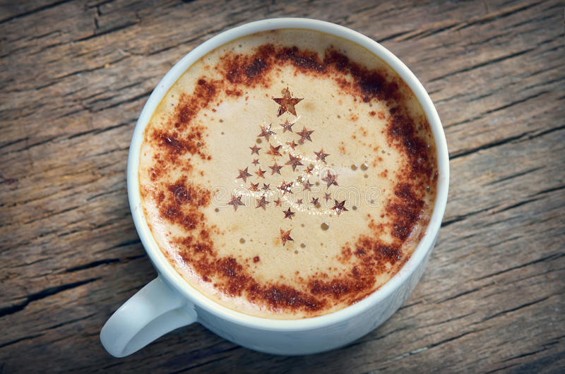Christmas cappuccino royalty free stock photo