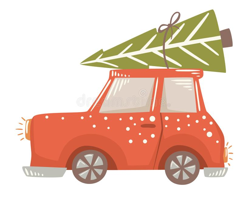 Christmas car with fir tree scandinavian card. Christmas delivery. royalty free illustration