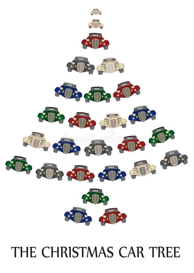 The christmas car tree royalty free illustration